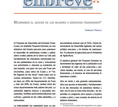 Enbreve 2: Mejorando el Acceso de las Mujeres a Recursos Financieros