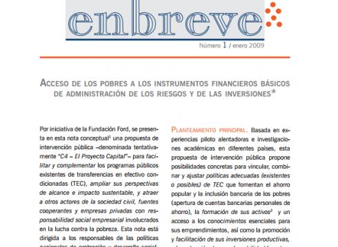 Enbreve 1: Acceso de los Pobres a los Instrumentos Financieros Básicos