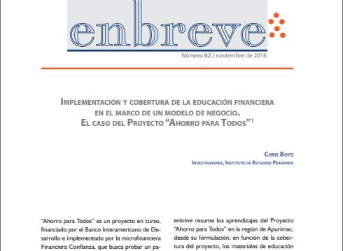 Enbreve 62: Implementación y Cobertura de la Educación Financiera en el Marco de un Modelo de Negocio. El Caso del Proyecto