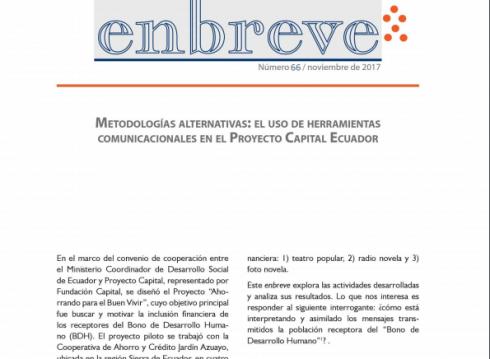 Enbreve 66: Metodologías Alternativas: el Uso de Herramientas Comunicacionales en el Proyecto Capital Ecuador