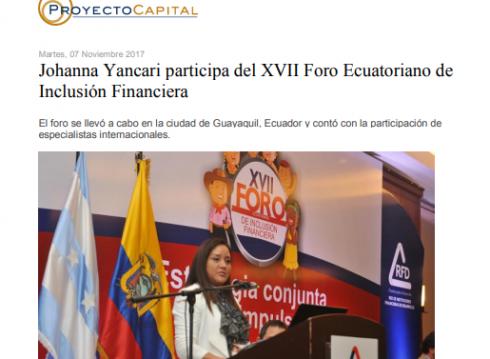 Johanna Yancari Participa del XVII Foro Ecuatoriano de Inclusión Financiera