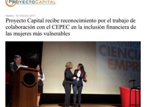 Proyecto Capital Recibe Reconocimiento por el Trabajo de Colaboración con el CEPEC, en la Inclusión Financiera de las Mujeres más Vulnerables