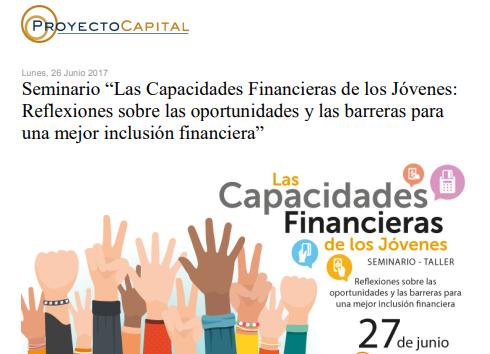 """Seminario """"Las Capacidades Financieras de los Jóvenes: Reflexiones sobre las Oportunidades y las Barreras para una mejor Inclusión Financiera"""""""