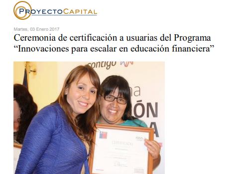 """Ceremonia de Certificación a Usuarias del Programa """"Innovaciones para Escalar en Educación Financiera"""""""