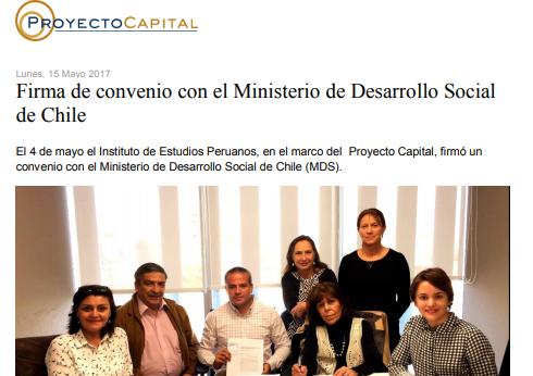 Firma de Convenio con el Ministerio de Desarrollo Social de Chile