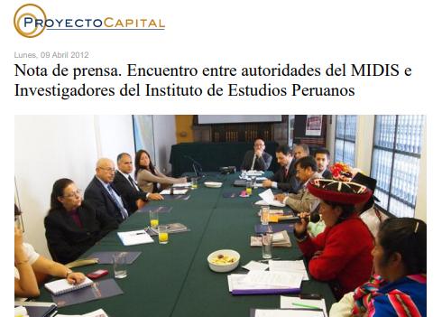 Nota de prensa. Encuentro entre Autoridades del MIDIS e Investigadores del Instituto de Estudios Peruanos