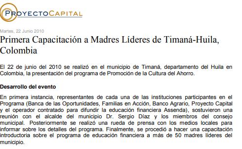 Primera Capacitación a Madres Líderes de Timaná-Huila, Colombia