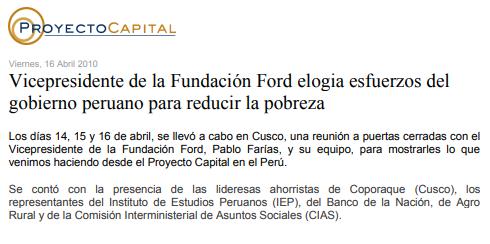 Vicepresidente de la Fundación Ford Elogia Esfuerzos del Gobierno Peruano para Reducir la Pobreza