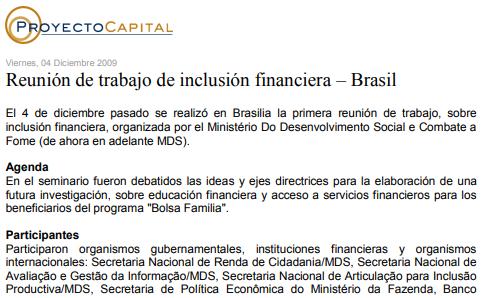 Reunión de Trabajo de Inclusión Financiera – Brasil