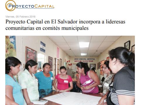 Proyecto Capital en El Salvador Incorpora a Lideresas Comunitarias en Comités Municipales
