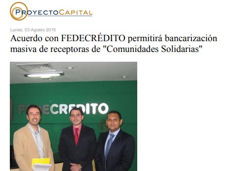 Acuerdo con FEDECRÉDITO Permitirá Bancarización Masiva de Receptoras de