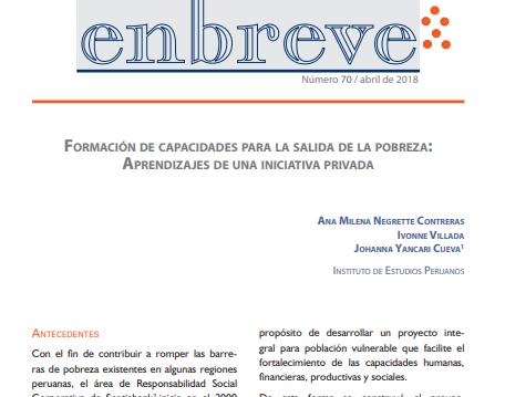 Enbreve 70: Formación de Capacidades para la Salida de la Pobreza: Aprendizajes de una Iniciativa Privada